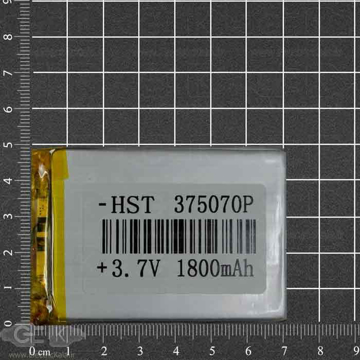 تصویر باتری لیتیوم پلیمر 3.7 ولت 1800mah سایز  375070P